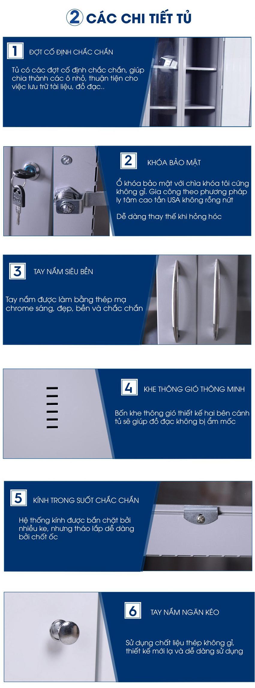 Thông số chi tiết Tủ sắt văn phòng cánh kính TU-K3