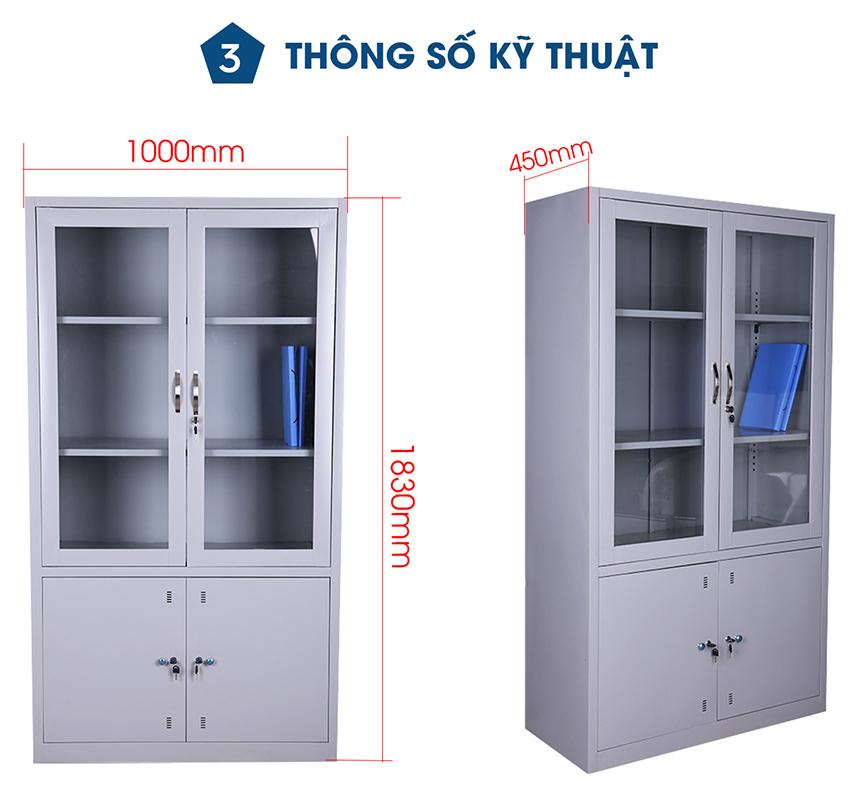 Thông số kỹ thuật Tủ sắt văn phòng cánh kính TU-K3